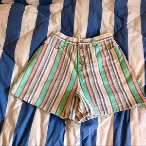 Denim Striped Shorts